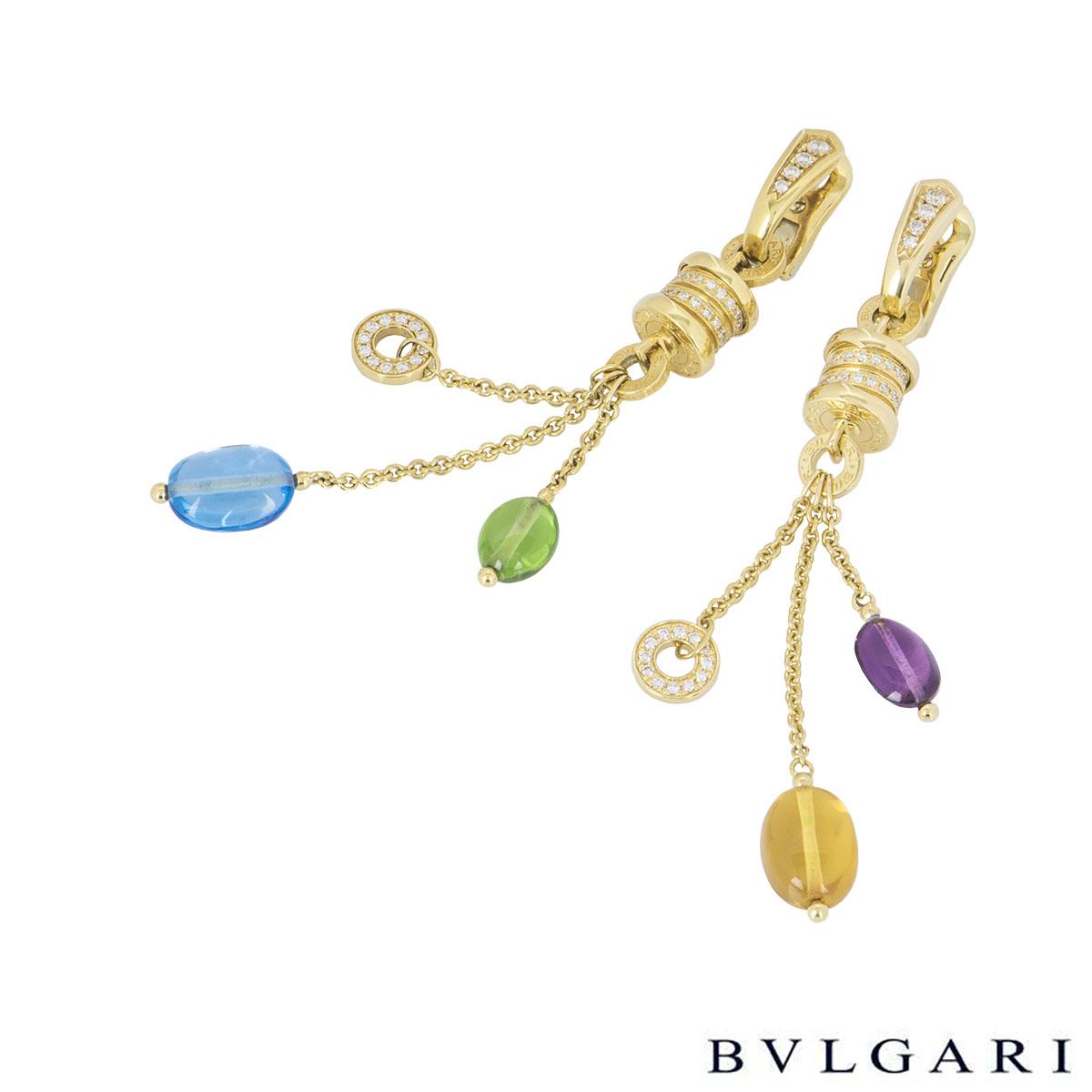 Bvlgari Yellow Gold Multi-Gemstone B.Zero1 Earrings
